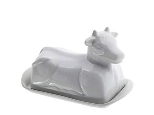 meindekoartikel Kuh Butterdose Butterdish aus Porzellan Deckel in Kuhform - weiß - B12cm x L21cm x H11cm