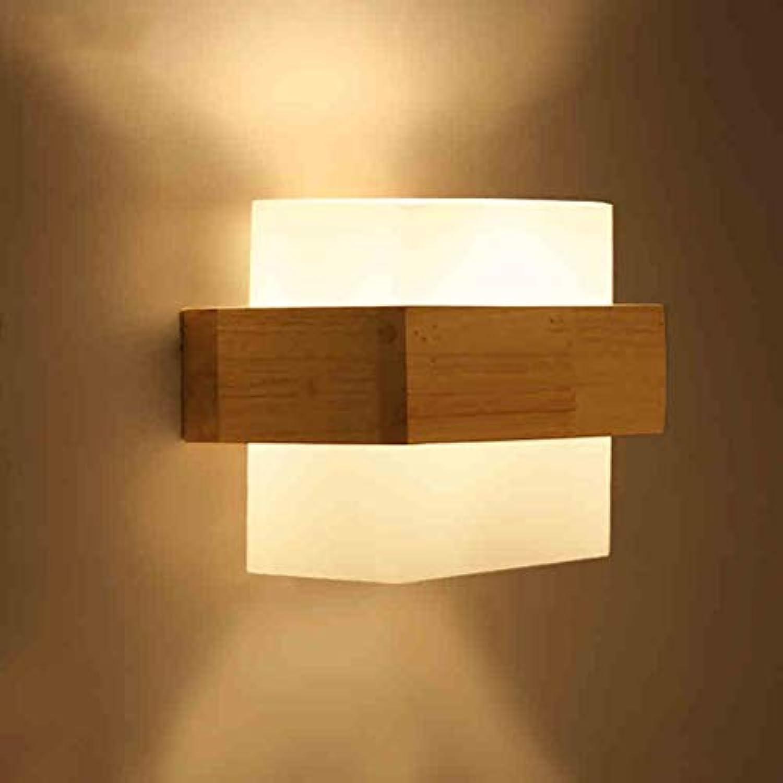 Wand Leuchte aus massivem Holz, modernes Wohnzimmer Gang Balkon Lichter Holz Schlafzimmer Nachttischlampe (Gre  21,5  16,5 cm) mit LED