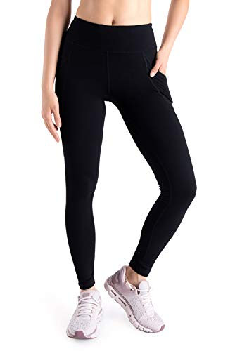 "Yogipace Tall Women's 31"" Yoga Workout Leggings with Side Pockets for Big Screen Smartphone Black Size XL"