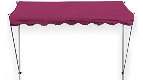 GRASEKAMP Qualität seit 1972 Klemmmarkise Ontario 294 x 130 cm Bordeaux Gestell Grau Balkonmarkise höhenverstellbar von 200 cm – 320 cm