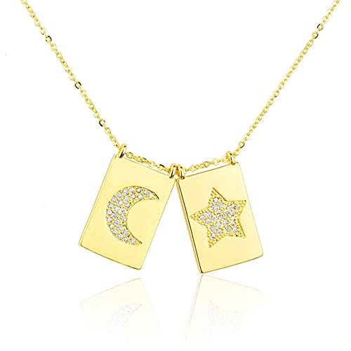 ShSnnwrl Colgante Collares Pendientes de Estrella de Luna de Cristal Pulido, Collar de Cadena de Color Dorado, Gargantilla cuadra