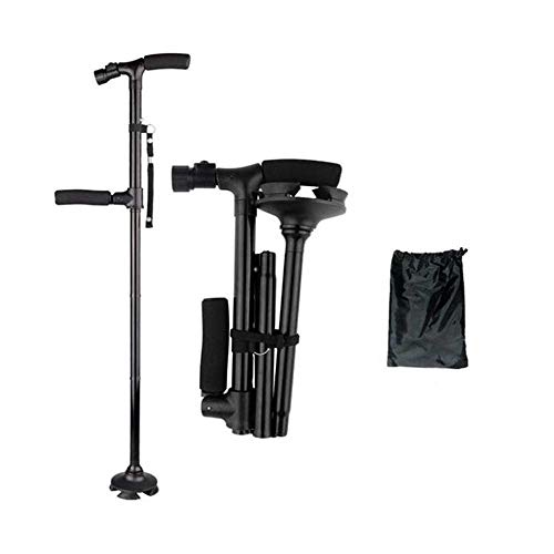 LMEIL olding Cane with LED Light- Ergonomics Handle Portable Cane, Foldable Walking Cane for Men, Women, Adjustable Walking Stick with Carrying Bag