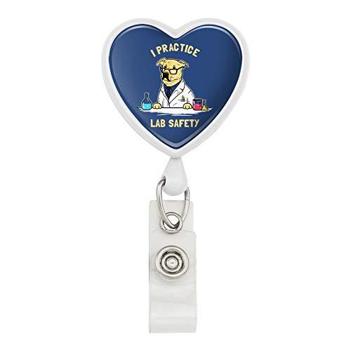 I Practice Lab Safety Labrador Retriever Funny Humor Heart Lanyard Retractable Reel Badge ID Card Holder