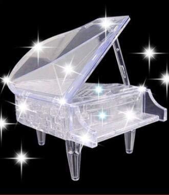Alician 3D Kristall Puzzles mit Licht und Musik Piano Blocks Geschenk Kinder Spielzeug Geschenke 29026-1 Flash Piano - Weiß