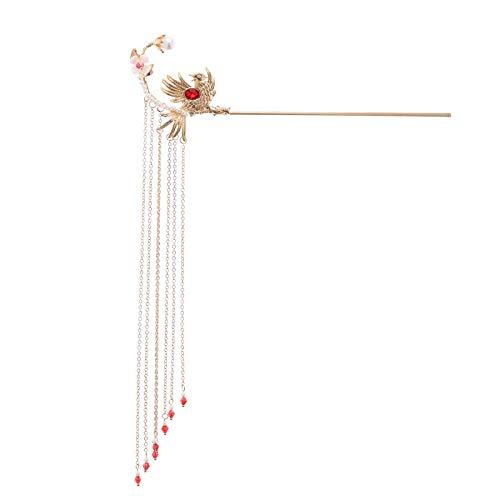 Cheveux fourche bâtons traditionnel chinois Hanfu robe épingles à cheveux pinces couleur or long gland cheveux fourche bâtons coiffes pour mariée Noiva mariage