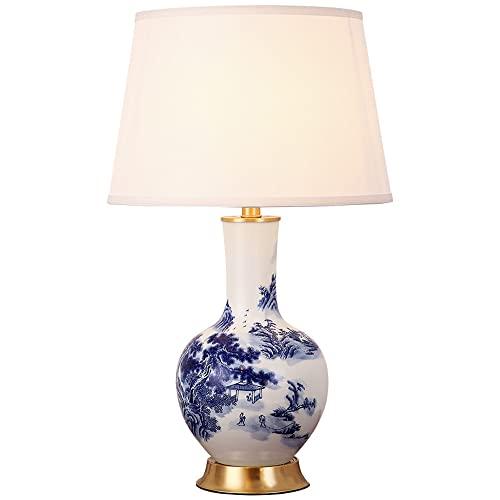 SDFDSSR Lámpara de Mesa de cerámica clásica China Lámpara de Mesa de Porcelana esmaltada Azul y Blanca Lámpara de Noche de Dormitorio de cerámica Lámpara de Mesa de cerámica Grande con Pantalla