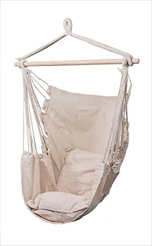 Hoppline Kft. Hamaca de lino para interior y exterior, incluye 2 cojines, con estructura de madera, para colgar con gancho o cuerda, para adultos y niños, 120 kg