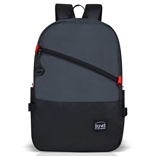 EUME Euron Polyester 17 LTR Laptop Backpack for Men and Women (Dark Grey) - Yellow Series