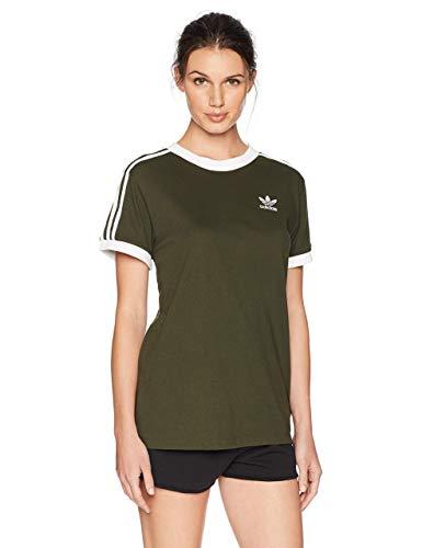 adidas Originals Women's 3 Stripes T-Shirt, Night Cargo, 2XS