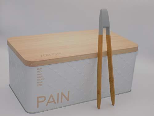 Desconocido Pack Caja de Pan metálica con Relieve y Logo de Pan en Varios Idiomas con Practica Pinza de bambú para Tostadas. (Pack1 panera Blanca)