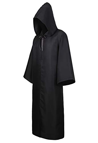 Men Tunic Hooded Robe Cloak Knight Cosplay Costume Cape Adult Wizard Robe Hoodies Black 2XL