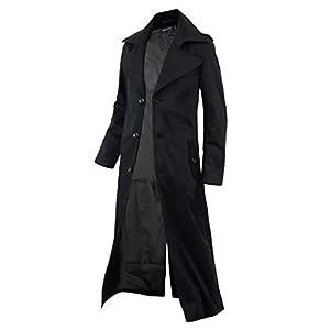 スプリングコート ロングコート メンズ トレンチコート チェスターコート 春 コート A280830-07 ブラック L