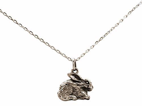 Gemshine Halskette Hase, Osterhase, Kaninchen Anhänger 925 Silber, vergoldet oder rose. Kuscheltier aus der Natur. Nachhaltiger ethischer Schmuck Made in Spain, Metall Farbe:Silber
