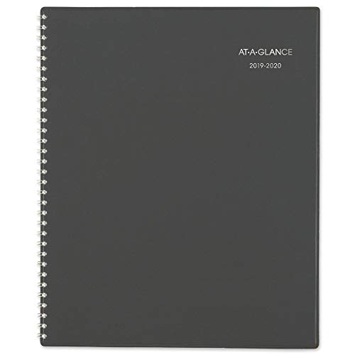 """AT-A-GLANCE 2019-2020 Academic Year Monthly Planner, Large, 8-1/2"""" x 11"""", DayMinder, Charcoal (AYC47045)"""