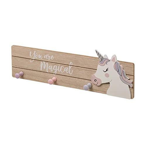 Dream Hogar Perchero de Pared 3 Ganchos Unicornio You Are Magical Madera MDF 45x15x3,90 cm