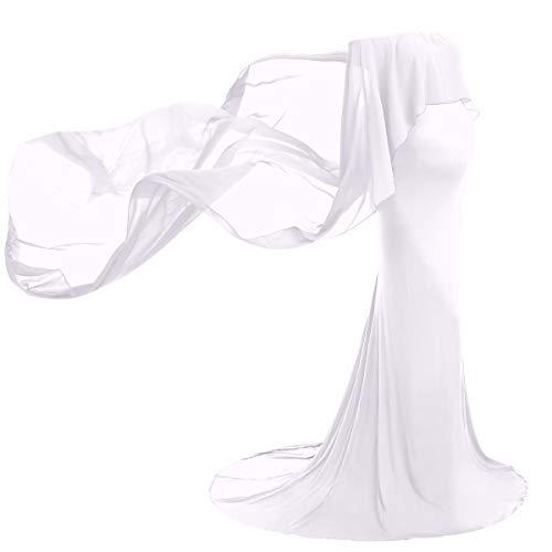FYMNSI Vestido de maternidad para embarazadas, elegante, con hombros descubiertos, de gasa para mujer, para boda, para sesiones de fotos, ropa premamá Blanco S