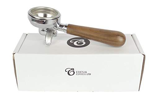 Ersatz-Siebträger für FAEMA E61-Espressomaschinen - Walnuss-Griff, 2 Ausläufe - 14 g Sieb - 2 Tassen