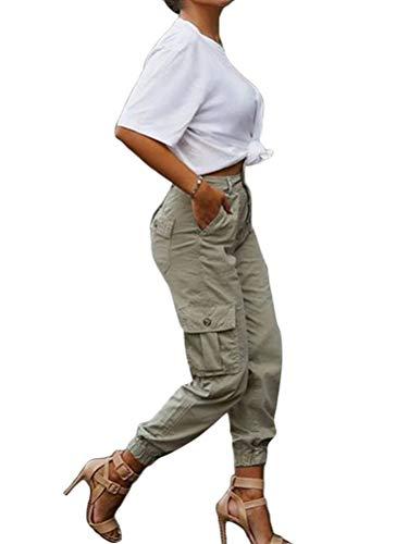 ORANDESIGNE Pantalone Largo Donna con Tasche Baggy Hip Hop Harem Pants Punk Rock Lunghi Salopette Pantaloni Cargo Ragazza Moda Leggins da Danza Jogging Sport Straight Trousers Cachi M