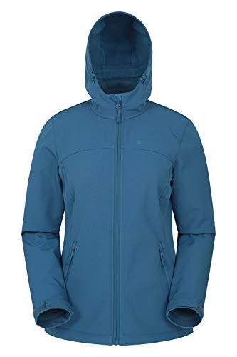 Mountain Warehouse Exodus Wasserabweisende Softshell-Damenjacke - atmungsaktive Regenjacke, länger im Rücken - großartig zum Spazierengehen, Reisen, Wandern, Frühling Blau 44
