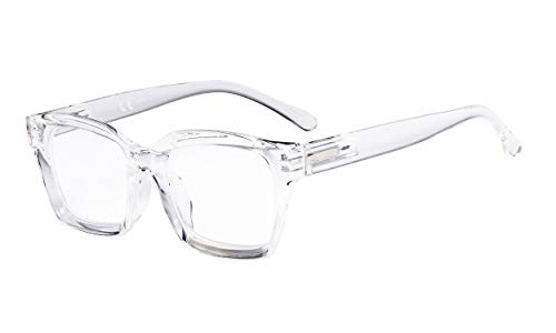 Eyekepper Damen Lesebrille - Übergroße Brille mit quadratischem Design Lese Brillen für Damen Transparent +0.50