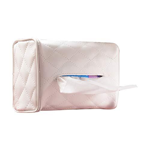 KIMISS Cuero Caja de pañuelos de coche Caja de papel de coche Silla de visera Silla de toalla de papel colgante(Blanco)