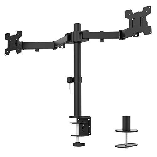 WALI Dual LCD Monitor Fully Adjustable Desk Mount Stand Fits 2 Screens up to 27 inch, 22 lbs. Weight Capacity per Arm (M002), Black