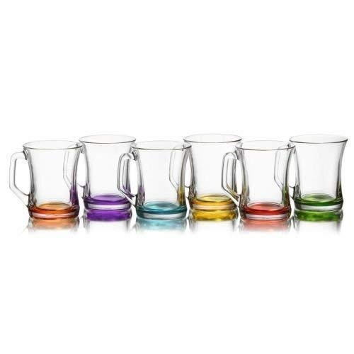 Lav Farbiges Set mit 6Gläsern für Tee/Kaffee/Cappuccino, Heißgetränke-Gläser–225 CCM