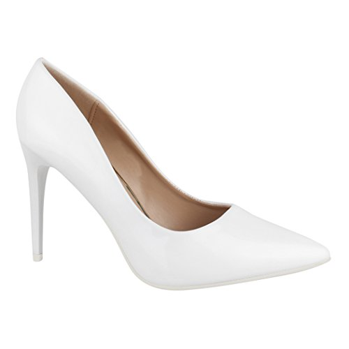Elara Damen Pumps Spitz High Heels Stiletto Chunkyrayan C-12 White-38