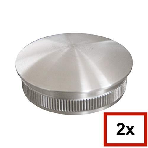 2 Stück massive V2A - Edelstahl Rund-Rohrstopfen, Linsenförmig, ALLE GRÖßEN WÄHLBAR 21,3mm-60,3mm, Möbelgleiter, Schutzkappen, Rundstopfen (Rohraußendurchmesser 48,3mm, Rohrwandstärke 2,6mm)