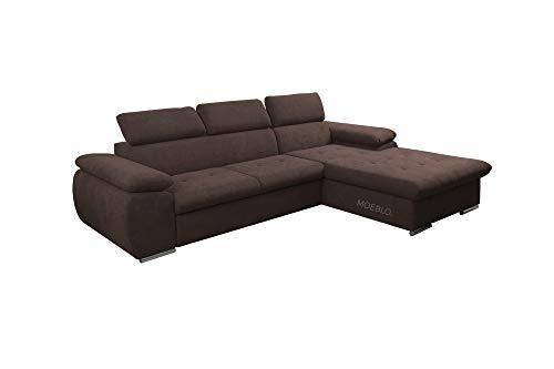 mb-moebel Ecksofa mit Schlaffunktion Eckcouch mit Bettkasten Sofa Couch L-Form Polsterecke NILUX (Braun, Ecksofa Rechts)