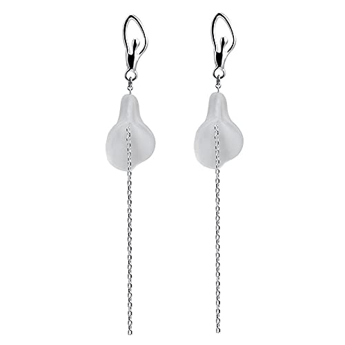 Pendientes largos de borla de temperamento de plata s925 pendientes de lirio de cala de cristal de estilo étnico chino femenino