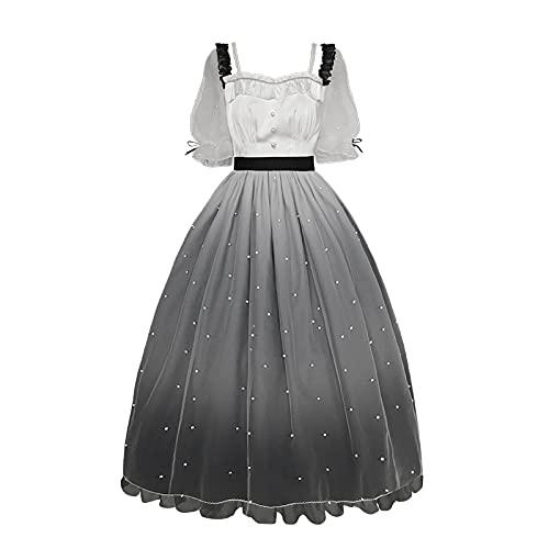 JLCYYSS Vestido de Lolita dulce para nias OP Cuello cuadrado Faldas de corte de fiesta suaves y bonitas para nias adolescentes, disfraz de Cosplay L color degradado OP