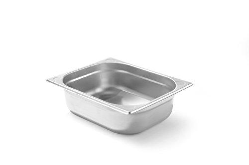 Hendi Gastronormbehälter, Temperaturbeständig von -40° bis 300°C, Heissluftöfen-Kühl- und Tiefkühlschränken-Chafing Dishes-Bain Marie, Stapelbar, GN 1/2, 325x265x(H)100mm, Edelstahl, 806333, 5,6 Liter