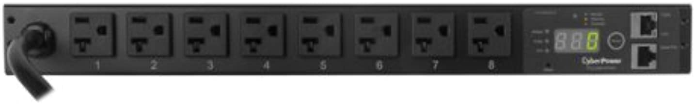 CyberPower PDU20MT8FNET Monitored PDU, 100-120V/20A, 8 Outlets, 1U Rackmount