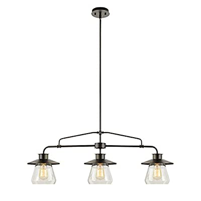 Globe Electric 64845 Nate 3-Light Pendant, Oil Rubbed Bronze, Clear Glass Shades
