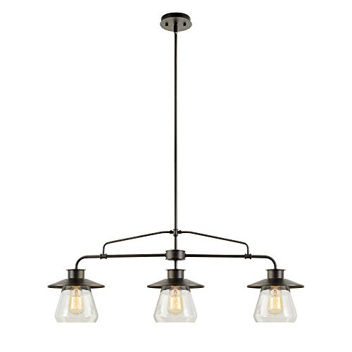 Nate 3-Light Pendant, Oil Rubbed Bronze, Clear Glass Shades,64845