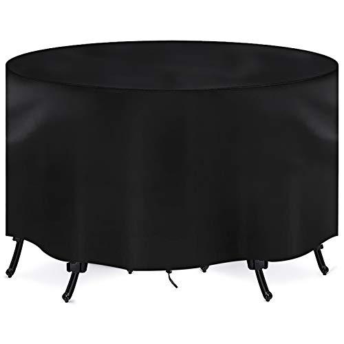 Fundas para Muebles de Jardín, Redonda Funda Muebles Impermeable Exterior, Cubierta de Mesa de Jardin Circular 420D Resistente al Viento, Protección Contra los Rayos UV y la Nieve (185*110cm)