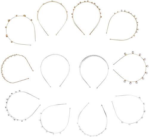 12 stücke Perle Stirnbänder Kristallblume Krone Braut Brautjungfern Tiara Kopfschmuck Haarstücke für Hochzeit Weihnachten Geburtstagsfeier Zubehör (gemischt Stil)