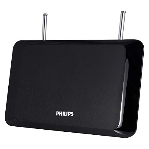 Philips Black Indoor TV Antenna, Perfect Home Decor Long Range Antenna, Digital, HDTV Antenna, Smart TV Compatible, 4K 1080P VHF UHF, 6Ft Coaxial Cable, Amplifier, Signal Booster, Dipoles, SDV8311B/27