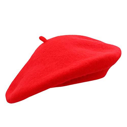 Umeepar Damen Wolle Französischen Baskenmütze (Rot)