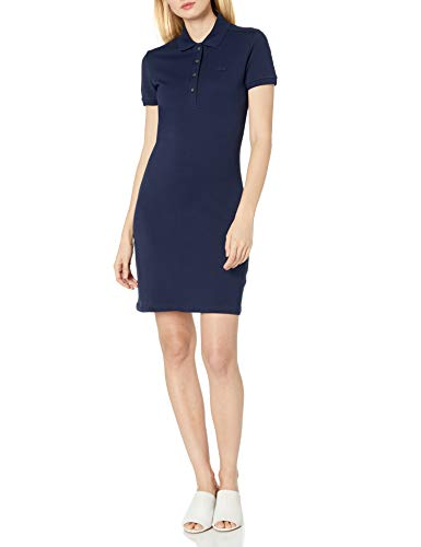 Lacoste Women's Stretch Cotton Short Sleeve Mini Piqu Polo Dress, Navy Blue