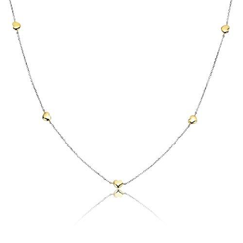 MATERIA 375 Gold Herzkette Damen Mädchen 2,85g - Gelbgold Weißgold Kette mit Herz Anhänger bicolor 38-43cm mit Etui GCO-1