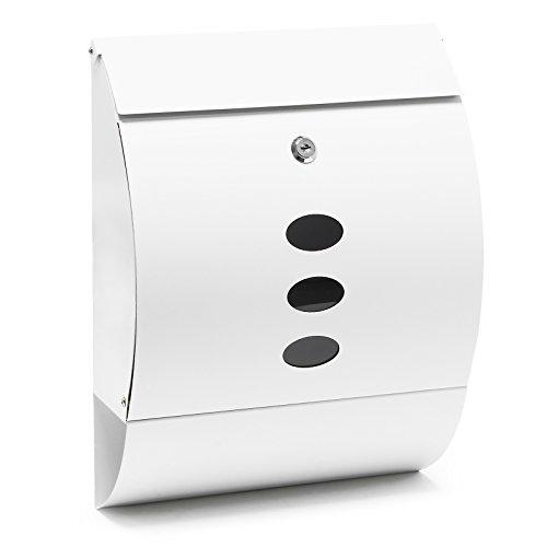 Cassetta postale di design V18 bianca, verniciata a polvere, montaggio a parete