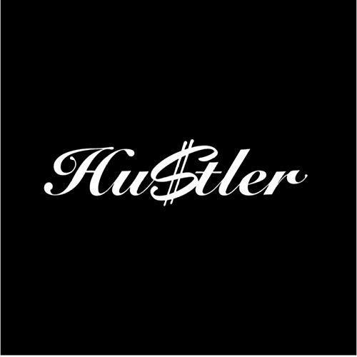 Etiqueta de la pegatina para el parachoques del coche HUSTLER DINERO Divertidas calcomanías de vinilo para coche Pegatina para coche 14cm * 3.6cm 2 piezas