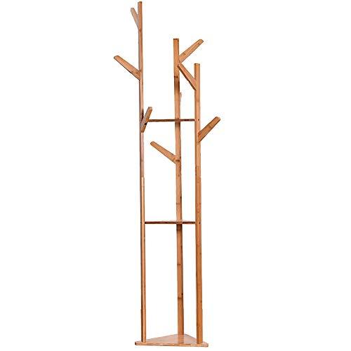 Rack de Ropa para el Hogar Sólido Piso de Madera Tipo Simple Dormitorio Gancho de Ropa for el hogar Perchero Estante Simple para Colgar Ropa (Color : Wood Color, Size : 165x40cm)