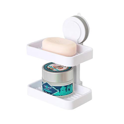 ZH serviteurs de douche Porte-savon puissant avec ventouse pour douche montage mural,Support pour organisateur de rangement à 2 étages pour porte-savo