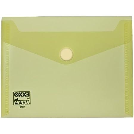 exxo by HFP Porte-documents avec fermeture Velcro A6orientation paysage, lot de 10 160 x 120 mm Transparent/jaune