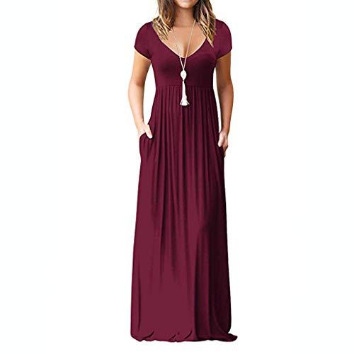 Pottoa Damesjurk, lange rok, effen strandrok, sexy, eenvoudige jurk met V-hals, zomerjurk, etuijurk