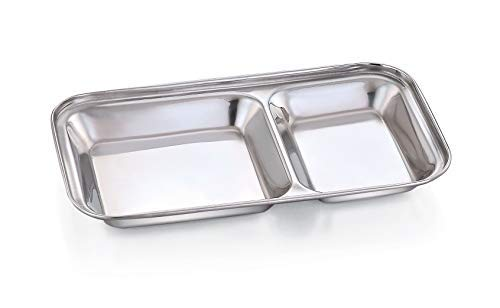 - Heavy Duty Stainless Steel Rectangle Small Plate with 2 Sections Divided Mess Trays for Lunch Camping Events & Every Day Use Kitchenware Set of 3 Pcs¦