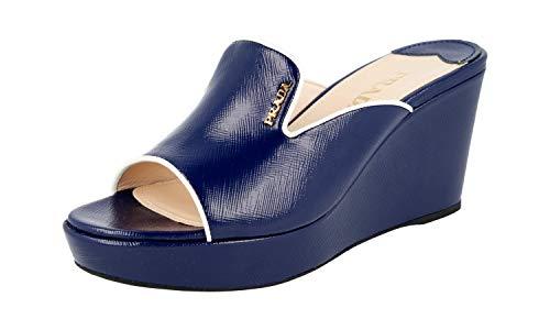 Prada Damen Blau Saffiano Leder Sandalen 1XX168 36 EU